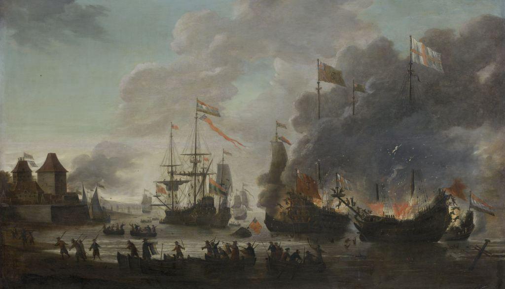 De Hollanders steken Engelse schepen in brand tijdens de tocht naar Chatham, 20 juni 1667. Olieverfschilderij door Jan van Leyden, 1667-1669. (Rijksmuseum)