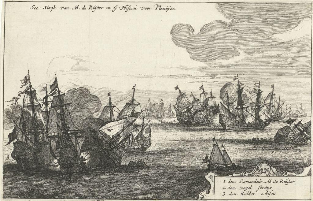 Zeeslag bij Plymouth tussen de Staatse vloot onder De Ruyter en de Engelse vloot onder Ayscue, 1652. Gravure Cornelis Bol, 1652-1653. (Rijksmuseum)