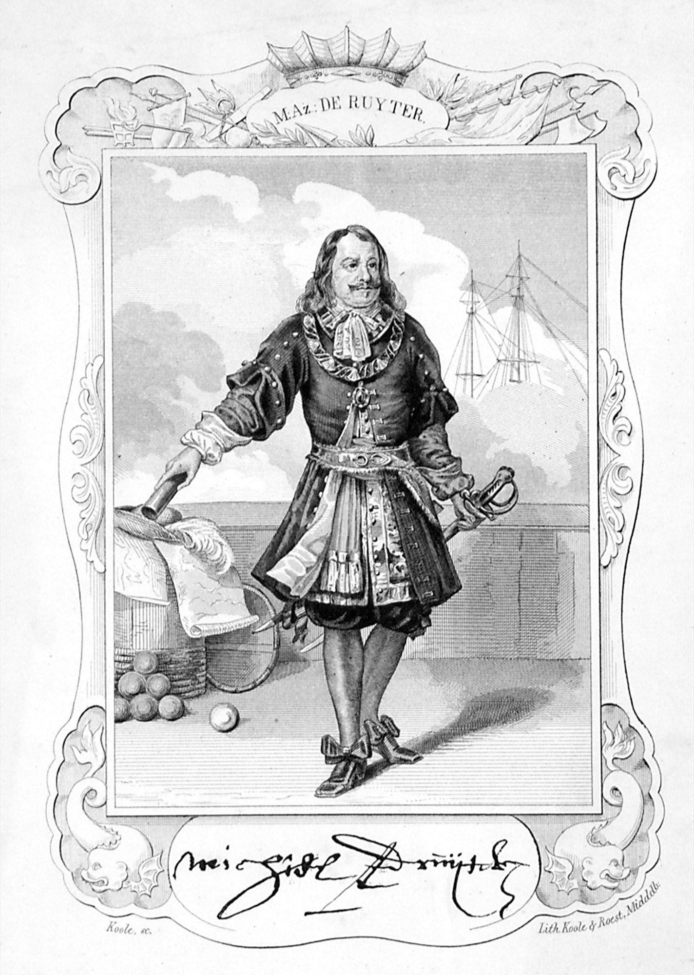 De Ruyter als luitenant-admiraal-generaal met facsimile van zijn handtekening. (Zeeuws Archief, collectie Zeeuws Genootschap, Zelandia Illustrata)