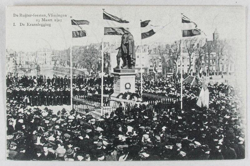 De Ruyterfeesten in Vlissingen in het herdenkingsjaar 1907. Prentbriefkaart. (Zeeuwse Bibliotheek, Beeldbank Zeeland)