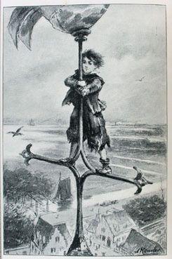 Tekening van Michiel op de toren van de Sint-Jacobskerk. Door Alfred Ronner in het boek 'Vlissinger Michiel of Neerlands glorie ter zee', door P. Louwerse. Uitgave door A.W. Sijthoff, 1901. (Zeeuwse Bibliotheek)