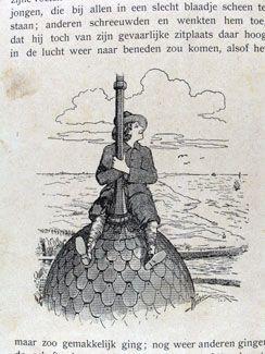 Michiel de Ruyter op de torenspits van de Sint-Jacobskerk. In H.J. Hana 'Hollandse Waterleeuw; uit het leven van Michiel Adriaansz. de Ruyter'. (Zeeuwse Bibliotheek)