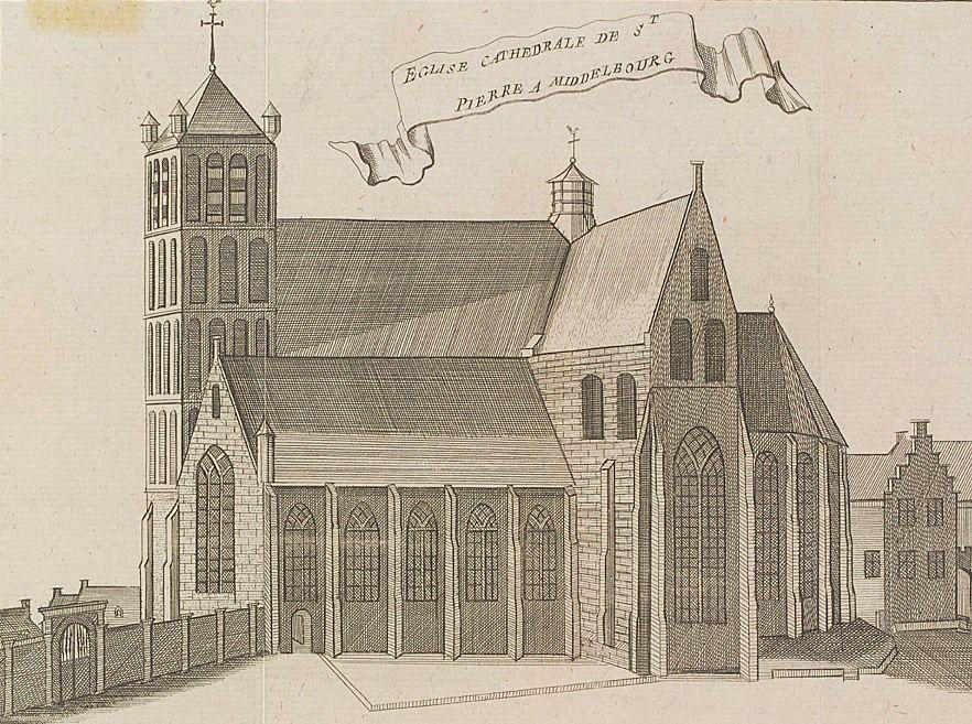Oude of Sint-Pieterskerk in Middelburg. Smytegelt deed hier zijn intrede als predikant en werd er ook begraven. Kopergravure J. Harrewijn, ca. 1720. (Zeeuws Archief)