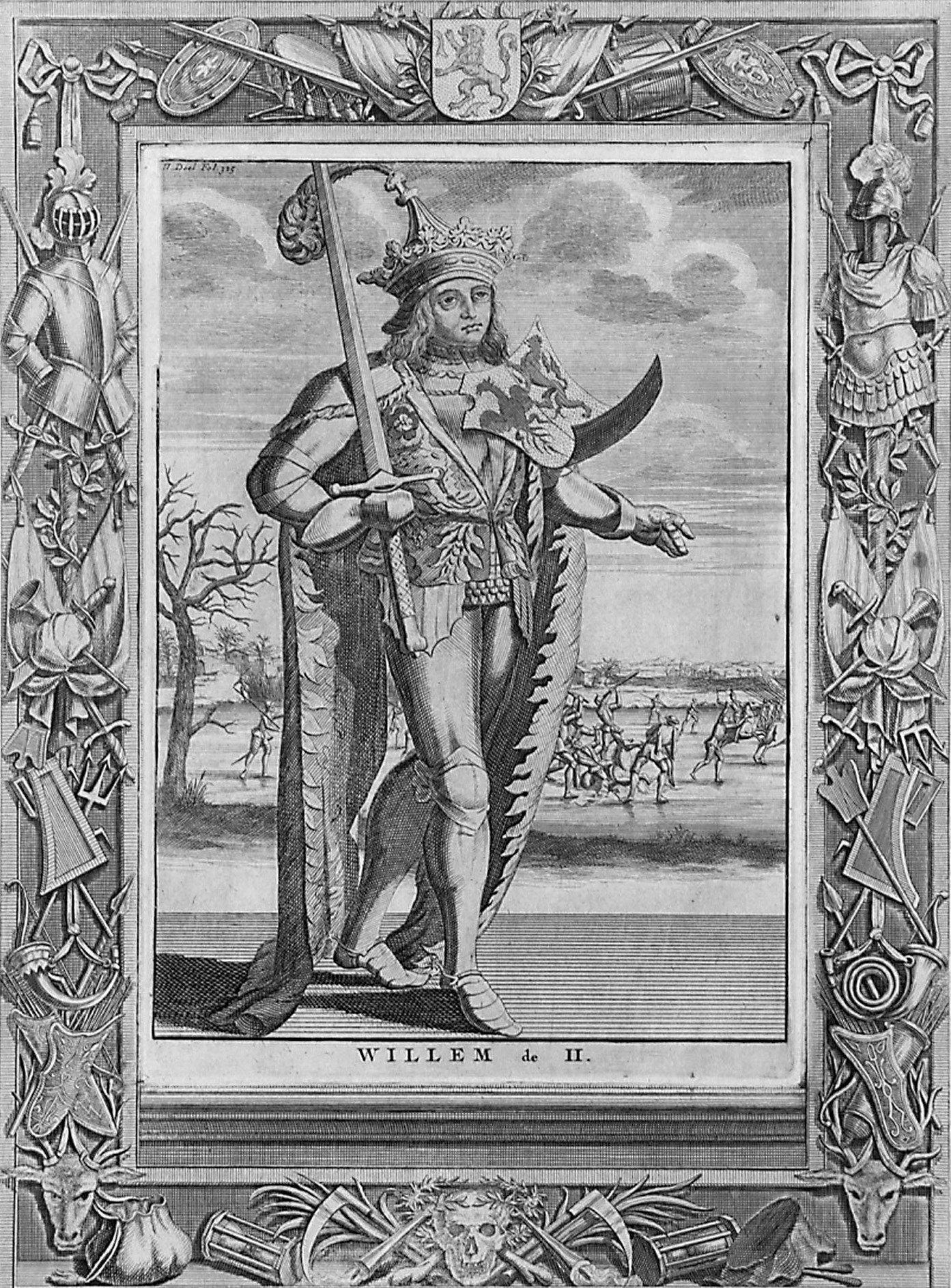 Willem II op een kopergravure uit: F. Halma en M. Brouérius van Nidek, Tooneel der vereenigde Nederlanden, 1725. (Zeeuws Archief, coll. Zeeuws Genootschap, Zelandia Illustrata)