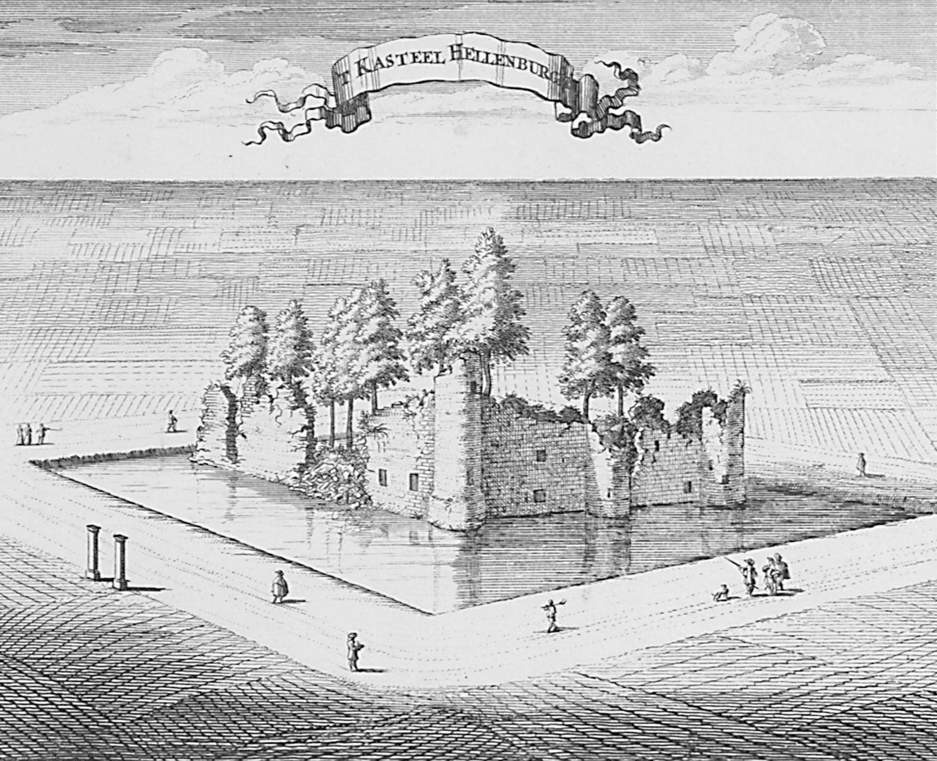 Hellenburg. Gravure uit de Cronyk van Zeeland door M. Smallegange, 1696. (Zeeuws Archief, coll. Zeeuws Genootschap, Zelandia Illustrata)