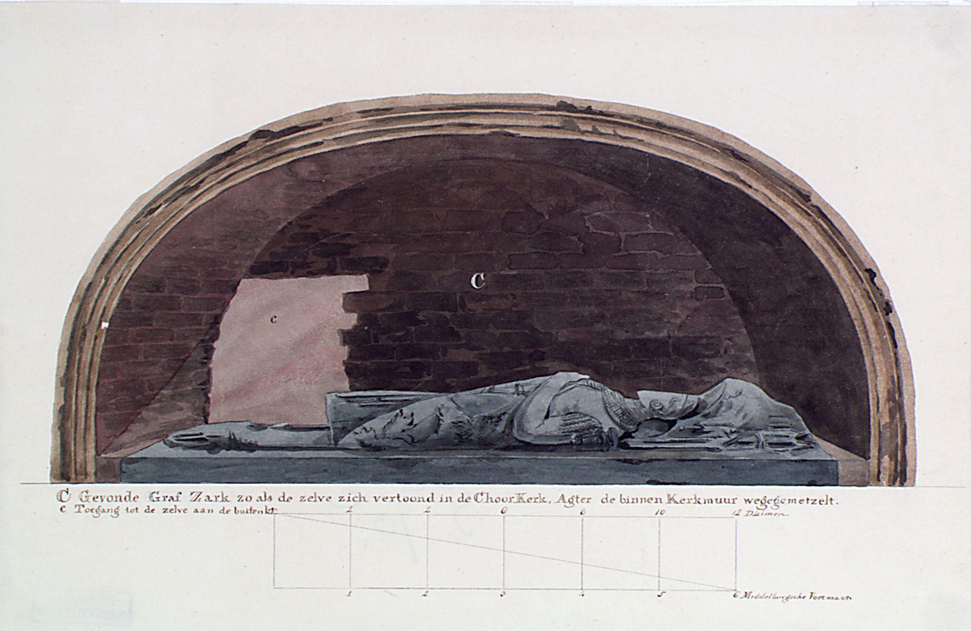 Profiel van de vermeende grafnis met grafzerk van rooms-koning Willem II in de Koorkerk te Middelburg, Johannes Hubertus Reijgers, 1817-1820. (Zeeuws Archief, coll. Zeeuws Genootschap, Zelandia Illustrata)