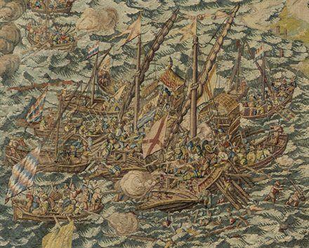 Detail uit wandtapijt Slag bij Zierikzee. (Zeeuws Museum, foto Ivo Wennekes)