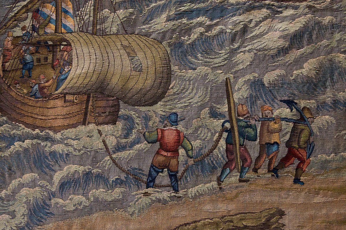 Detail uit het wandtapijt Slag bij Rammekens. (foto Mischa de Muynck)