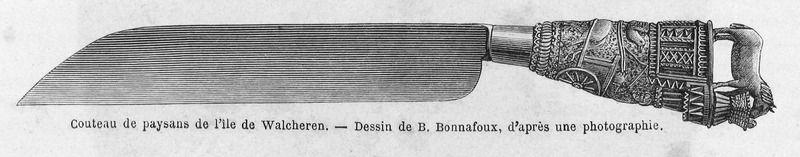 Tekening van een mesheft door Adolf Dillens in Charles de Coster, La Zélande, circa 1874. (Zeeuwse Bibliotheek, Beeldbank Zeeland)