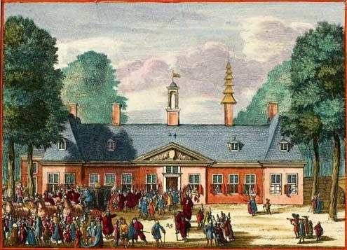 Sorghvliet (later het Catshuis). Illustratie door Johannes van den Aveele, circa 1690.