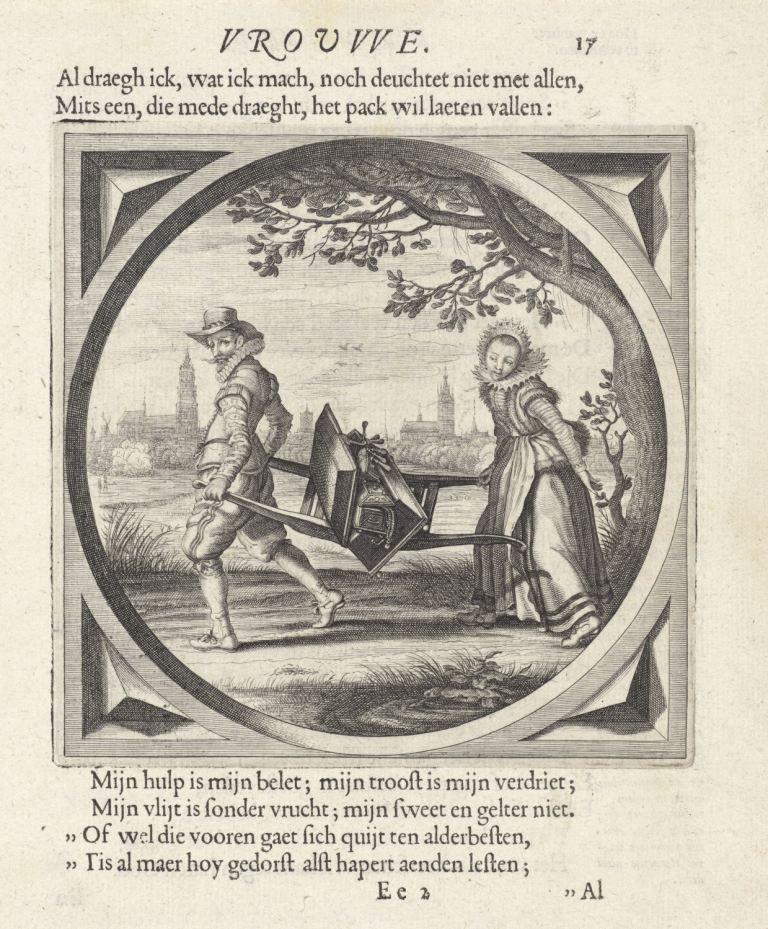 Boekillustratie door Adriaen van de Venne, in Cats' Houwelick. (Rijksmuseum)