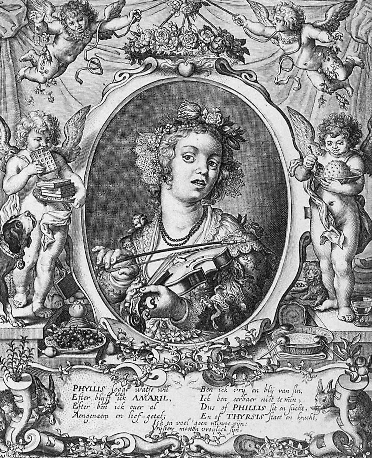 Tekening van Adriaen van de Venne met gedicht van Cats uit Galathee ofte harder minneklachte 's-Gravenhage 1629. (Zeeuws Archief, coll. Zeeuws Genootschap, Zelandia Illustrata)