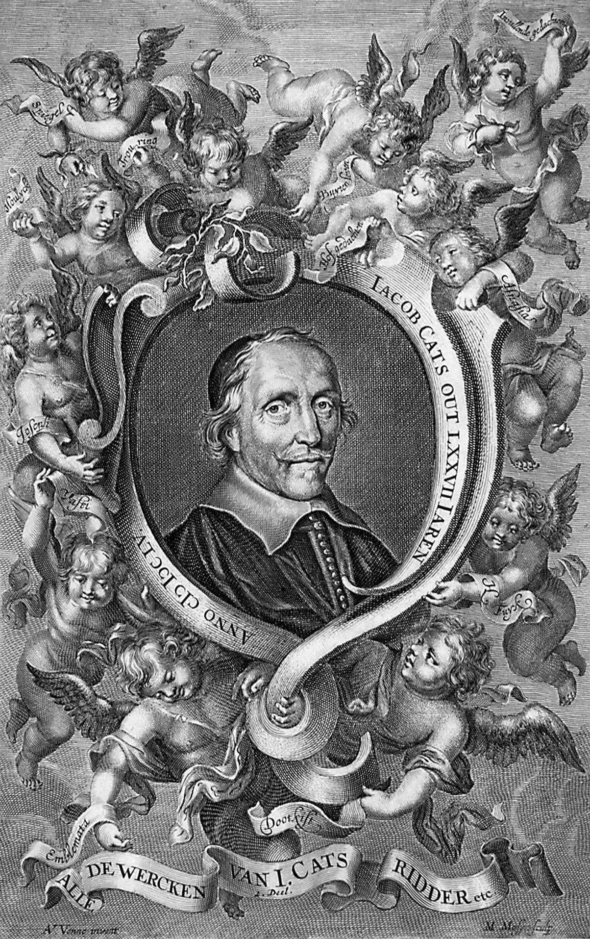 Titelblad (kopergravure) van Alle de wercken, dl. II (Amsterdam/Utrecht 1700). Schilder/tekenaar: Adriaen van de Venne. (Zeeuws Archief, coll. Zeeuws Genootschap, Zelandia Illustrata)