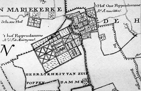 Drie buitenplaatsen op steenworp afstand van elkaar. Detail van 18de-eeuwse kaart met Oost-Poppendamme, Poppendamme en Schotse Hof. (Zeeuwse Bibliotheek, Beeldbank Zeeland)