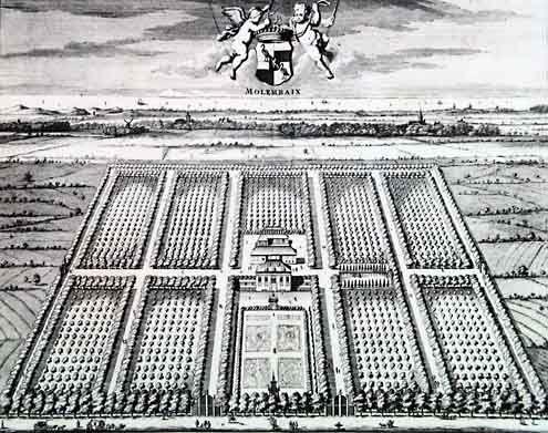 Het hof Molembaix nabij Grijpskerke, afgebeeld in de Cronyk van Smallegange, 1696. (Zeeuwse Bibliotheek, Beeldbank Zeeland)