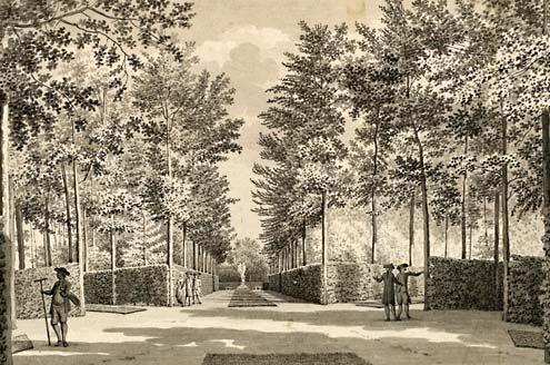 Tuinlieden aan het werk in de tuin van het slot Ter Hooge, 1785. Tekening Jan Arends. (Zeeuws Archief, collectie Zeeuws Genootschap, Zelandia Illustrata)