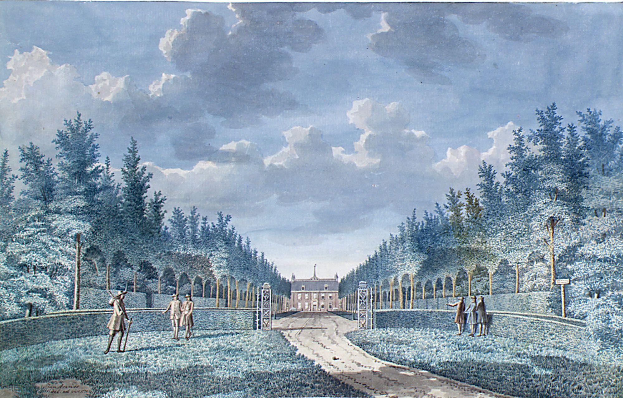 Gezicht op de oprijlaan van het huis Poppenroede Ambacht aan de Seisweg (nu Walcherseweg), Middelburg, in 1771. Tekening van Jan Arends. (Zeeuws Archief, collectie Zeeuws Genootschap, Zelandia Illustrata)