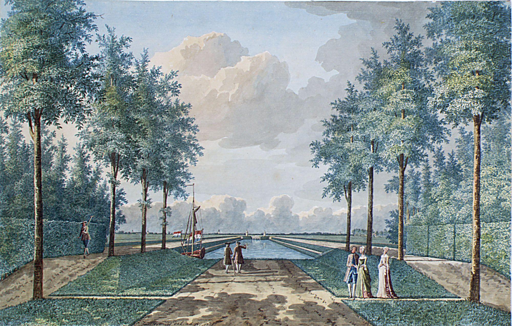 De tuin bij het buiten Poppenroede Ambacht, met op de achtergrond het bijbehorende kanaaltje. Aquarel door Jan Arends, omstreeks 1770-1771. (Zeeuws Archief, collectie Zeeuws Genootschap, Zelandia Illustrata)