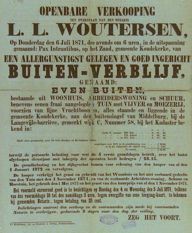 Verkoping van Even Buiten op 6 juli 1871, gelegen aan de buitensingel van Middelburg. (Zeeuwse Bibliotheek, Beeldbank Zeeland)