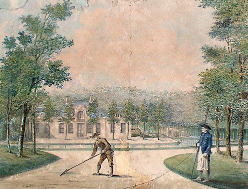 Gezicht op de oude buitenplaats Duinvliet te Aagtekerke, met op de voorgrond de tuinlieden. Tekening in kleur, 1810-15. (Zeeuws Archief, collectie Zeeuws Genootschap, Zelandia llustrata)