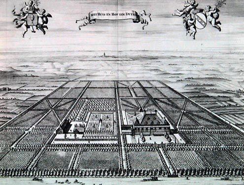 De tuin van het buiten hof Ten Duyne, Oostkapelle, in de Cronyk van Smallegange, 1696. Achter het huis is een kleine driesprong zichtbaar. (Zeeuwse Bibliotheek, Beeldbank Zeeland)