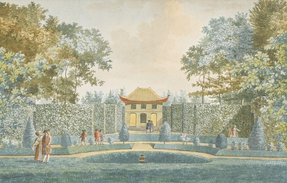 Chinese tempel bij hof Sint Jan ten Heere, 1775, tekening Jan Arends. (Zeeuws Archief, collectie Zeeuws Genootschap, Zelandia Illustrata)