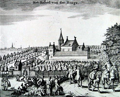 Ter Hooge was aanvankelijk een kasteeltje met meerdere gebouwtjes waar een slotgracht omheen was gegraven. Afbeelding uit de 'Cronyk' van Smallegange, 1696. (Zeeuwse Bibliotheek, Beeldbank Zeeland)
