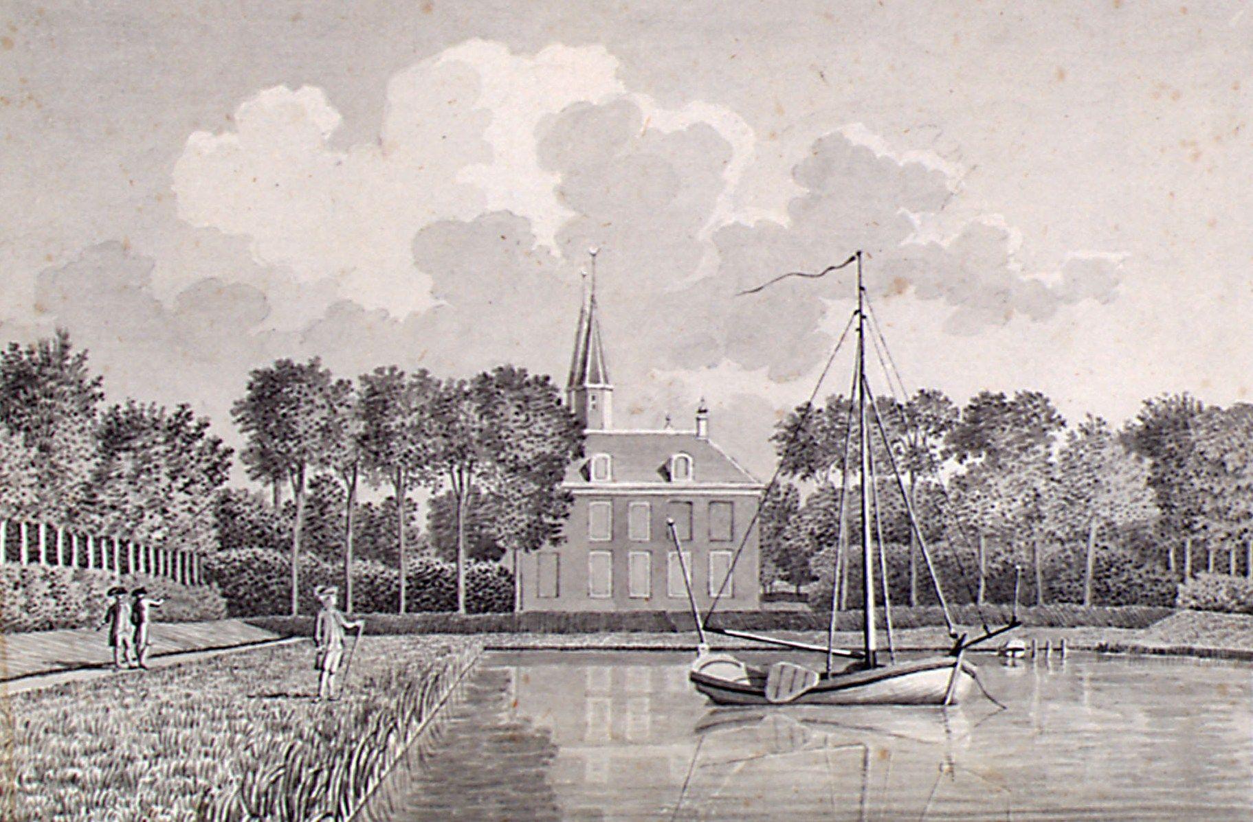 Een speeljacht ligt in het bassin van de vijver van het slot Ter Hooge, Middelburg. Tekening van Jan Arends, 1785. (Zeeuws Archief, coll. Zeeuws Genootschap, Zelandia Illustrata)