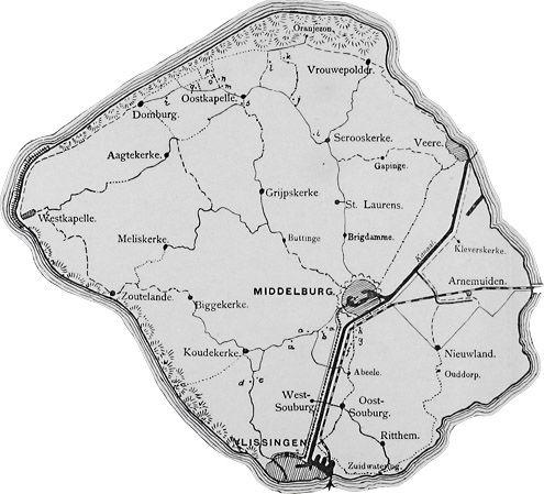 Uitsnede van de kaart van Walcheren van Altorffer, omstreeks 1880. Hierop staan de 21 (nog resterende) 'voornaamste Buitens'. (Zeeuwse Bibliotheek, Beeldbank Zeeland)