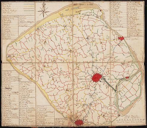 Kaart met buitenplaatsen op Walcheren, 18de eeuw. Naast de 114 buitenplaatsen staan nog zes extra buitens vermeld, aangeduid met een letter in plaats van met een nummer. (Zeeuws Archief, Kaarten Zeeland)