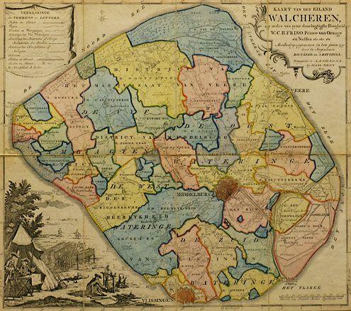 Kaart van Walcheren van A. en D.W.C. Hattinga uit 1753. De belangrijkste buitenplaatsen staan op de kaart aangegeven. Grote tuinen zijn eveneens goed te onderscheiden. (Zeeuwse Bibliotheek, Beeldbank Zeeland)