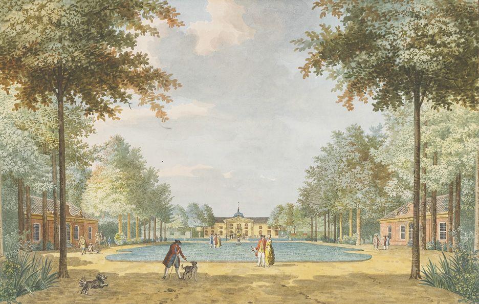 Gezicht op het voorplein en het huis van het hof Sint Jan ten Heere, 1775. Tekening van Jan Arends. (Zeeuws Archief, collectie Zeeuws Genootschap, Zelandia Illustrata)