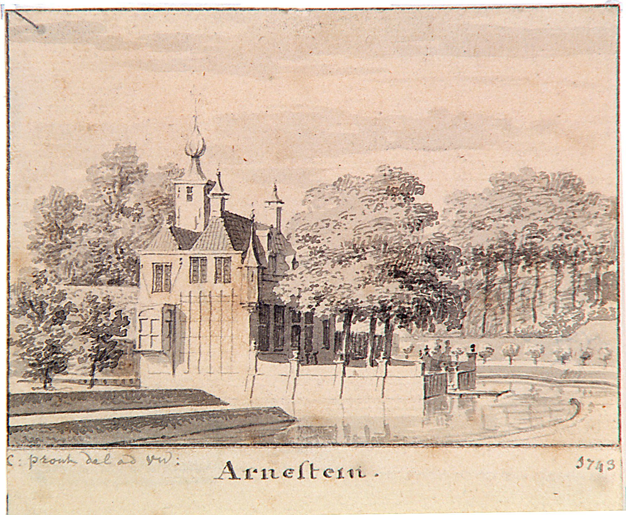 'Hofstede Arnestein buiten Middelburg', 1743. Tekening door Cornelis Pronk. (Zeeuws Archief, Historisch-topografische atlas Middelburg)