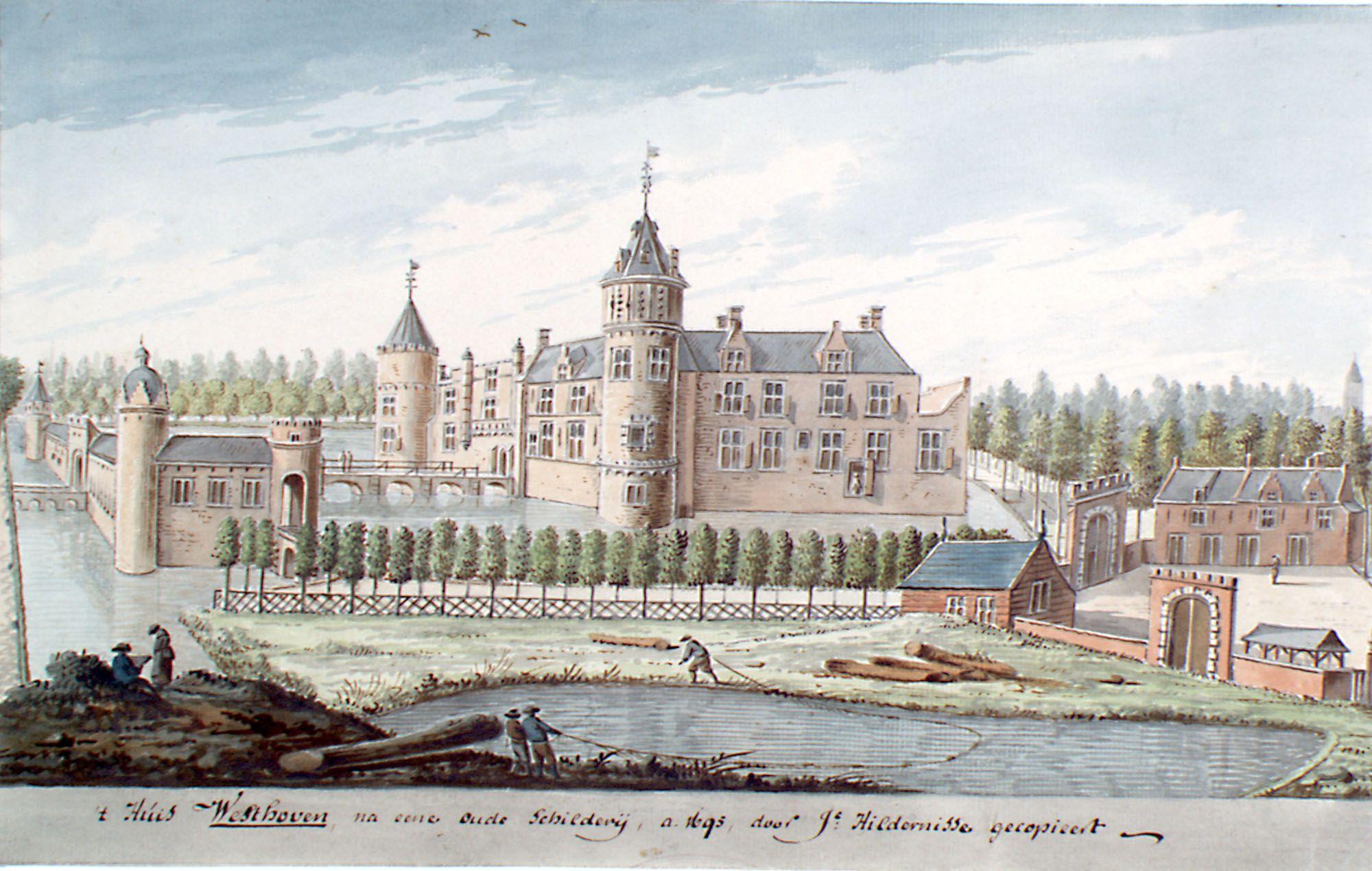Westhove zoals het er in volle glorie moet hebben uitgezien. Aquarel, eind 17de eeuw, kopie van een oudere afbeelding. (Zeeuws Archief, collectie Zeeuws Genootschap, Zelandia Illustrata)
