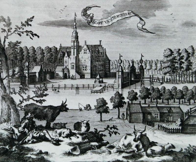 Kasteel Moermond bij Renesse in de Cronyk van M. Smallegange, 1695. (Zeeuwse Bibliotheek, Beeldbank Zeeland)