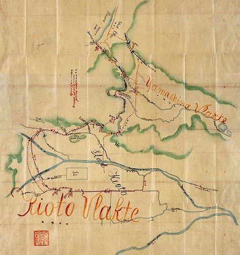 Kaart bij het rapport over de tunnels tussen het Biwameer en Kyoto, ingediend door Johannis de Rijke op 23 februari 1884. (National Archives of Japan)