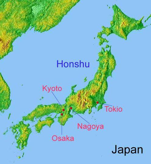 Japan: Honshu met ligging Kyoto, Nagoya, Osaka en Tokio. (bewerkte afbeelding van Wikipedia)