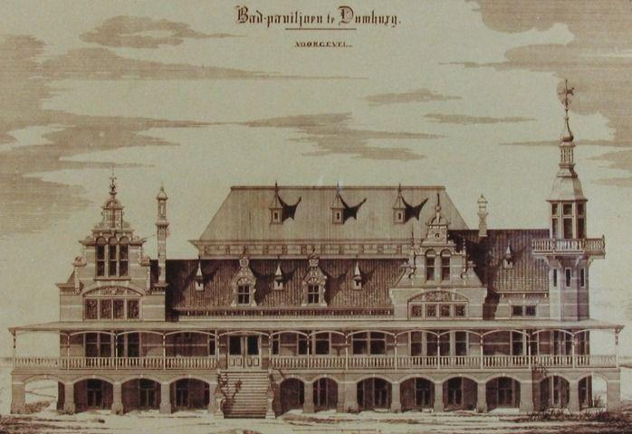 Een ontwerptekening van het Badpaviljoen van omstreeks 1890. (Zeeuwse Bibliotheek, Beeldbank Zeeland)