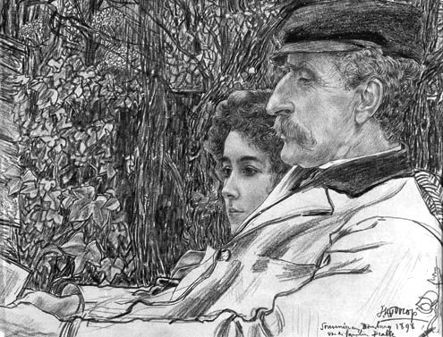 Johan en Mies Drabbe in de tuin te Domburg, door Jan Toorop, 1898. Zwart krijt met potlood en pastel op papier. (Collectie H.F. Elout)