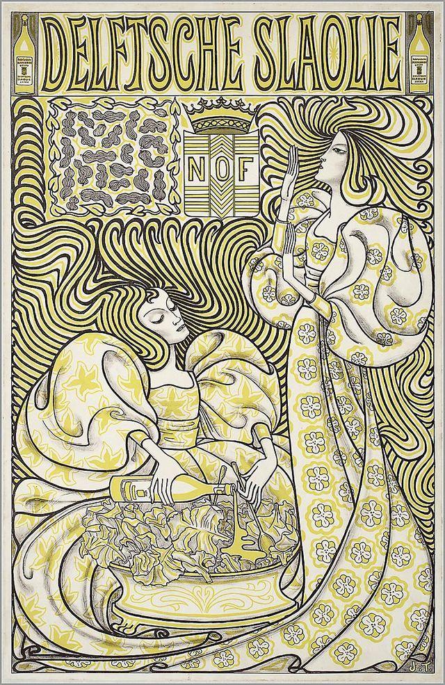 Reclameaffiche van Jan Toorop voor 'Delftsche slaolie' (1894). Kleurenlitho. (Collectie Museum Boymans van Beuningen, Rotterdam)
