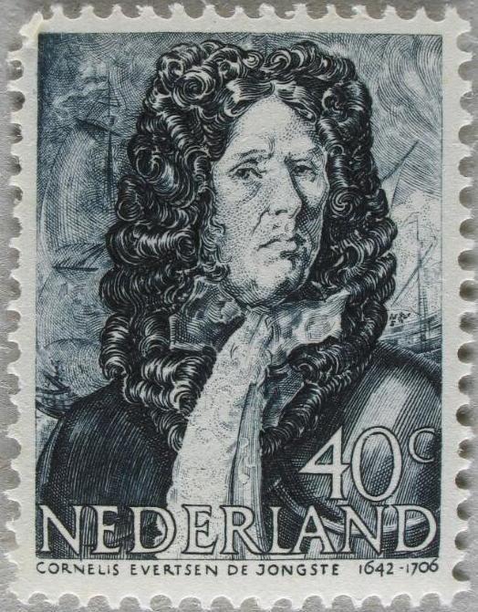 Cornelis Evertsen de Jongste (1642-1607), op een postzegel uit 1943-1944. (Zeeuwse Bibliotheek, Beeldbank Zeeland, foto W. Helm)