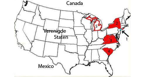 Kaartje van de Verenigde Staten met locaties van genoemde plaatsen en staten.