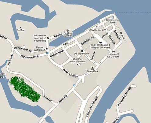 In groen gemarkeerd is de waarschijnlijke locatie van Het Tabaksland in Veere. Uit de bronnen is niet op te maken waar het precies ligt. (Kaart: maps.google.nl)