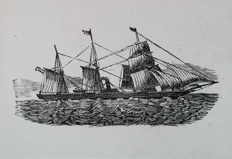 Tekening van een zeilschip met hulpstoomvermogen dat werd gebruikt voor de overtocht naar Amerika, ongeveer 1870. (Zeeuwse Bibliotheek, Beeldbank Zeeland)