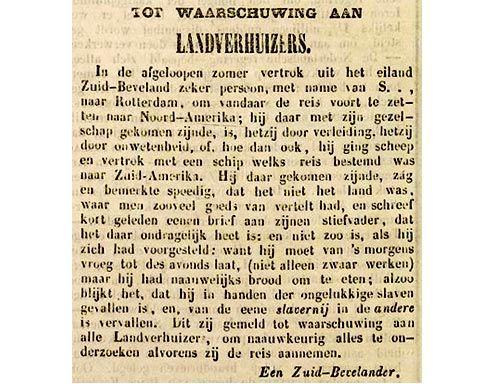 Niet alle emigranten kwamen goed terecht, zo blijkt uit dit bericht in de Zierikzeesche Nieuwsbode van 17 december 1846. (Zeeuwse Bibliotheek, Krantenbank Zeeland)