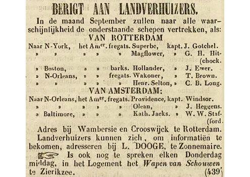 Advertentie van emigratieagent L. Dooge in de Zierikzeesche Nieuwsbode van 3 september 1846. (Zeeuwse Bibliotheek, Krantenbank Zeeland)