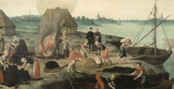 Detail van een schilderij waarop de verschillende stadia van het darinc delven in beeld zijn gebracht. Schilderij uit circa 1540. (Stadhuismuseum Zierikzee)
