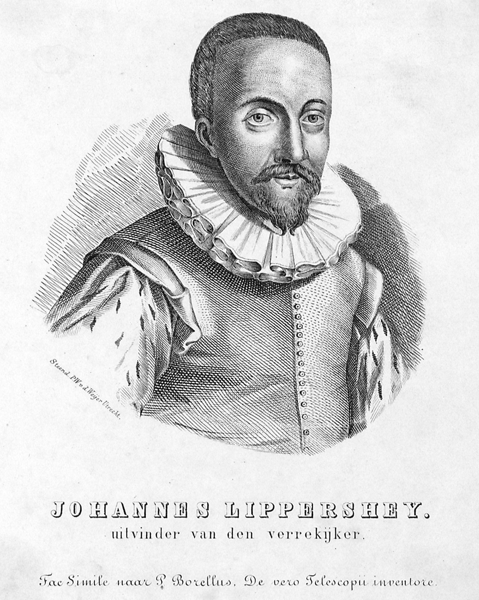 Portret van Hans Lipperhey, 1619. (Zeeuws Archief, coll. Zeeuws Genootschap, Zelandia Illustrata)