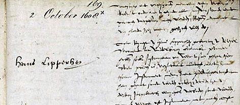 Uitsnede notulen Staten Generaal met octrooiaanvraag Hans Lipperhey, 2 oktober 1608.