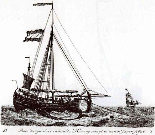 Haringbuis of 'buis die zijn vleet inhaalt'. (Uit: G. Groenewegen, Verzameling van Vier en Tachtig Stuks Hollandsche Schepen, Rotterdam 1789)